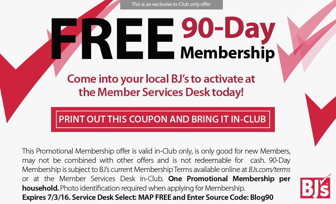 FREE Day Trial Membership to BJ's Wholesale Club Print out your FREE BJ's 60 Day Trial Membership Pass. Fill out the form, bring your email to the Customer Service Desk to .